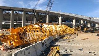 crane collapses at construction site