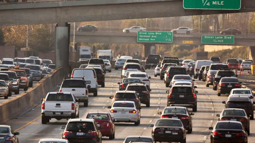 FILE - This Dec. 12, 2018, file photo shows traffic on the Hollywood Freeway in Los Angeles.