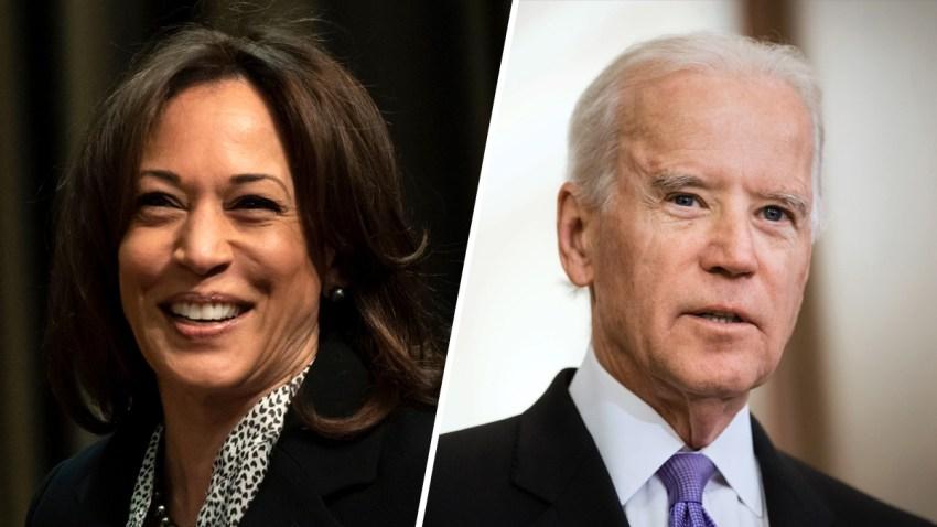 Combinación de fotografías de Kamala Harris y el exvicepresidente Joe Biden.