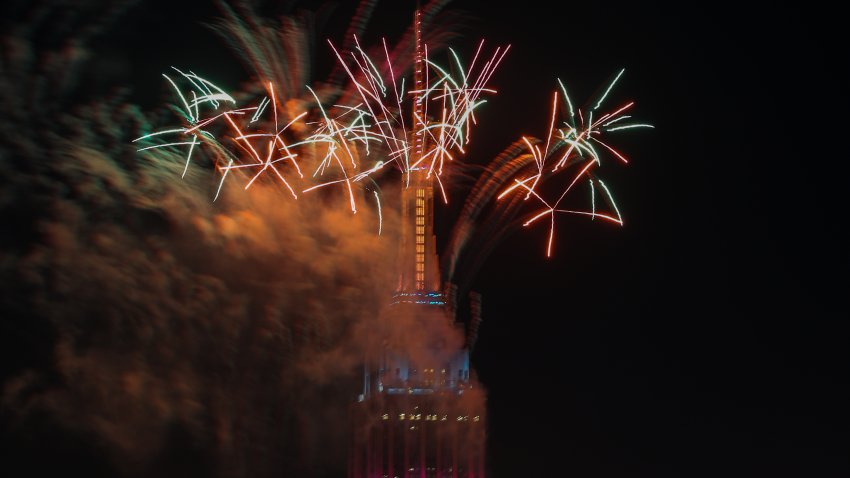 fireworks display over the empire state building