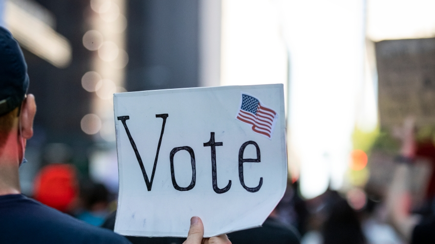"""person holds up a sign that reads """"vote"""""""