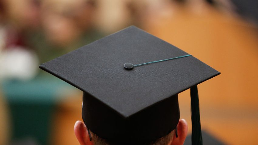 Student seen with graduation cap