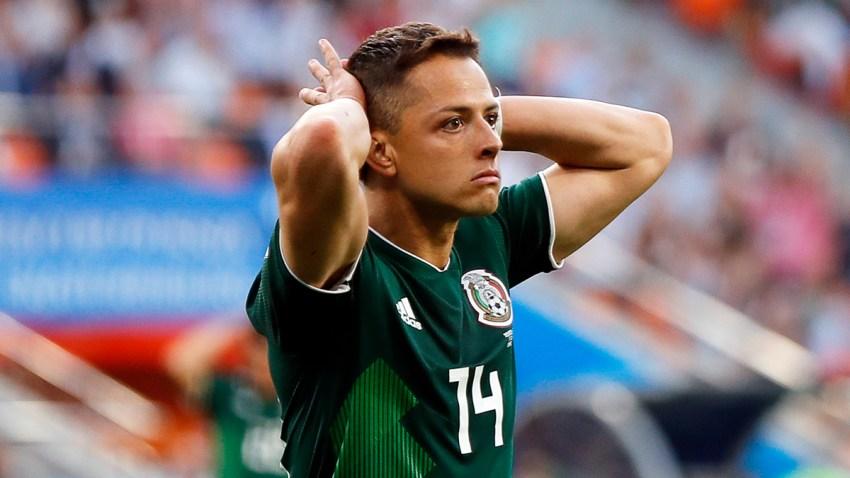 Javier Hernández de México reacciona durante la Copa Mundial de la FIFA 2018.