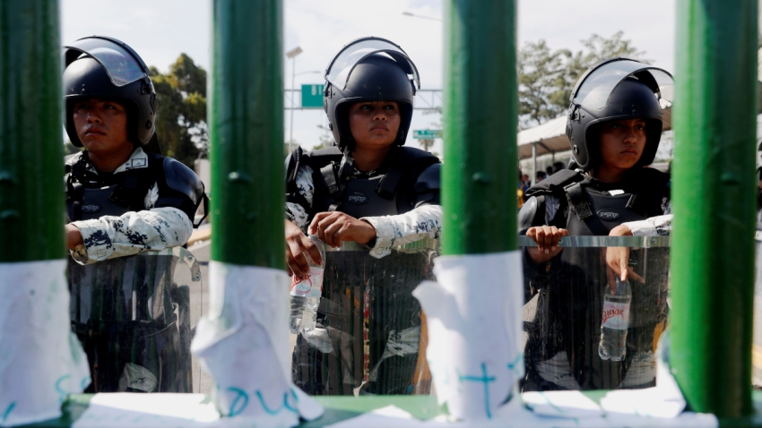 Guardia Nacional resguarda la frontera sur de México.