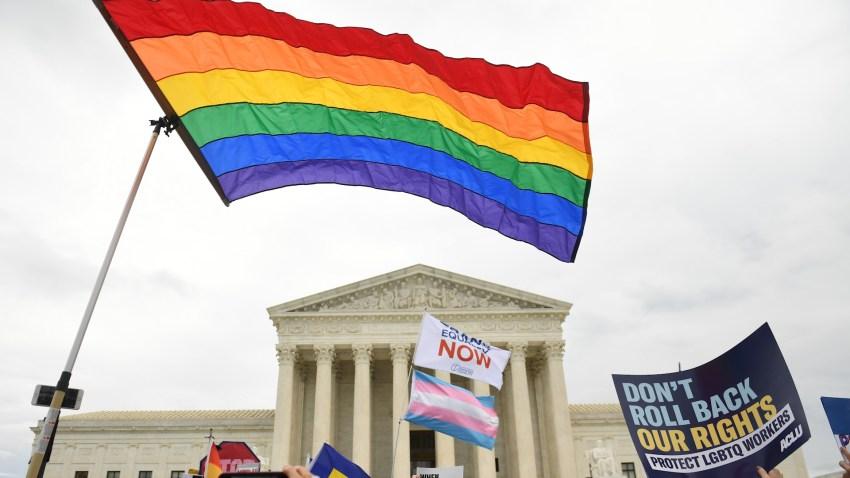 LGBTQ flag outside the US Supreme Court