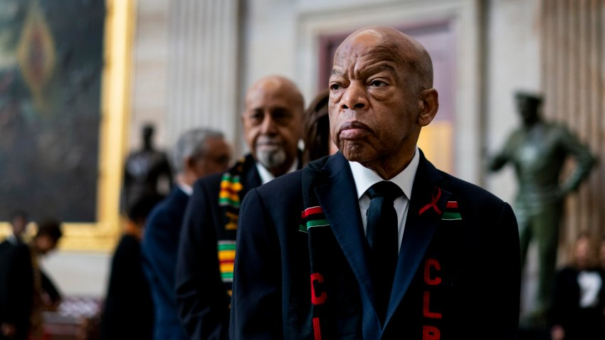 In this file photo, Civil Rights icon Congressman John Lewis (D-GA) prepares to pay his respects to U.S. Rep. Elijah Cummings (D-MD) who lies in state within Statuary Hall during a memorial ceremony on Capitol Hill on October 24, 2019 in Washington, DC.