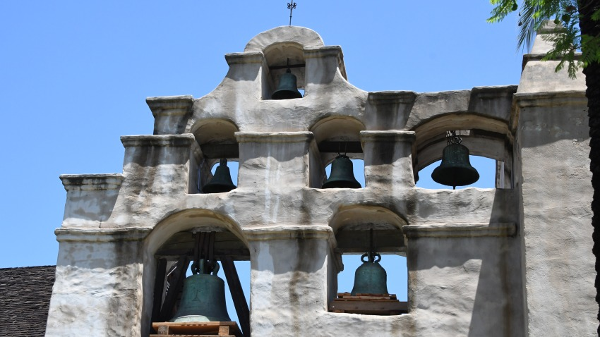 The bells atop the church still stand at Mission San Gabriel.