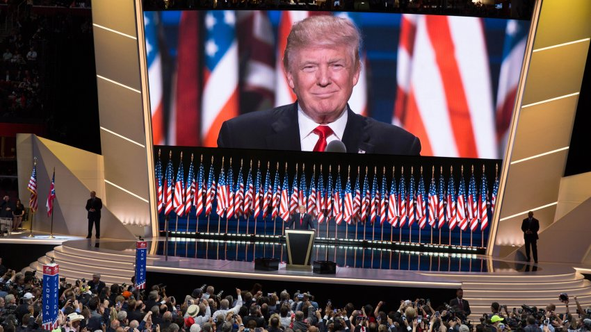 American real estate developer and presidential candidate Donald Trump delivers the keynote address on the last day of the Republican National Convention