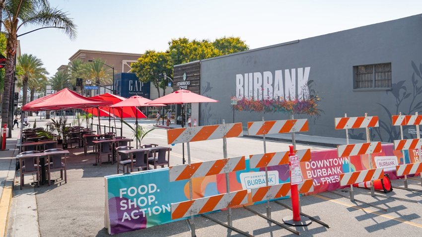 General view of Downtown Burbank's shopping and dining district transformed into a promenade to accommodate expanded outdoor dining due to COVID-19 restrictions on August 19, 2020 in Burbank, California.