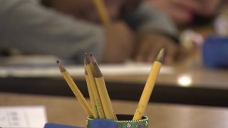 pencils in a classroom