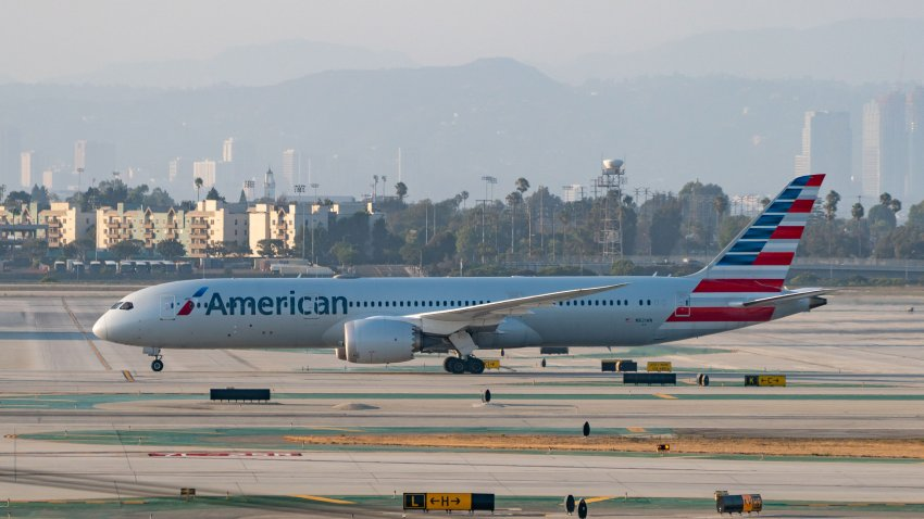 LOS ANGELES, CA - AUGUST 27: American Airlines Boeing 787 takes off from Los Angeles international Airport on August 27, 2020 in Los Angeles, California.