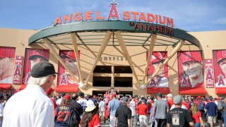 A general view of Angels Stadium in Anaheim.
