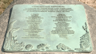 A plaque to honor the Conception dive boat tragedy victims.