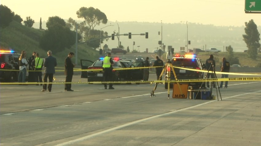 Authorities investigate in Chula Vista after California Highway Patrol officers opened fire on a suspect who led them on a chase from Santa Ana to the South Bay on Sunday, Oct. 4, 2020.
