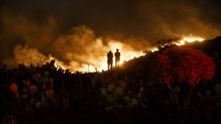 People watch from a hillside during the Silverado Fire.