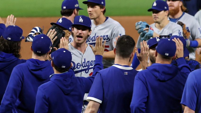 The Dodgers celebrate.
