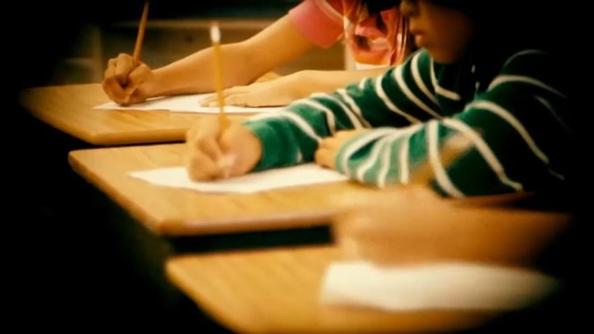 Children at their school desks