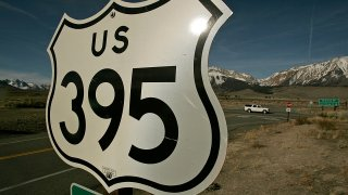 A highway sign,.