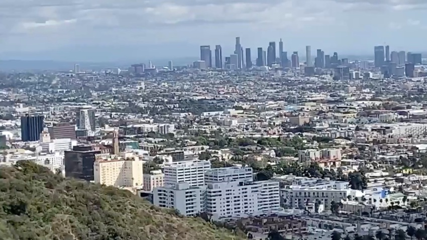 A view of Hollywood and downtown Los Angeles from Trebek Open Space.