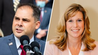 Rep. Mike Garcia, left, and challenger Christy Smith face off on Nov. 3, 2020, for California's 25th congressional district.