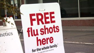 Flu shot sign in the South Bay.