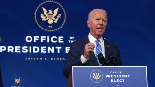 U.S. President-elect Joe Biden speaks as he lays out his plan for combating the coronavirus and jump-starting the nation's economy at the Queen theater January 14, 2021 in Wilmington, Delaware.