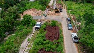 Construcción de un tramo del Tren Maya en Yucatán