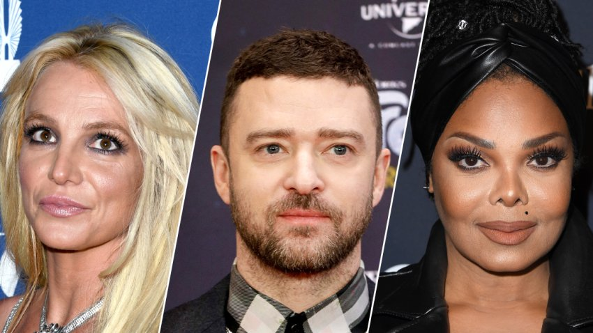 Britney Spears (left), Justin Timberlake (middle) and Janet Jackson (right).