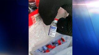 Una dosis de las vacunas falsas decomisadas en Campeche