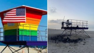 Before-and-after fire photos show the Long Beach Pride lifeguard tower.