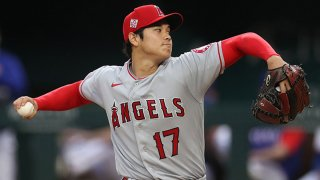 Shohei Ohtani #17 of the Los Angeles Angels throws against the Texas Rangers in the first inning at Globe Life Field on April 26, 2021 in Arlington, Texas.
