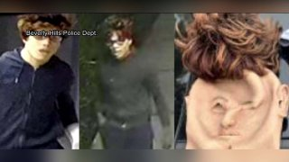 A man wearing a mask is caught on security camera video in these undated photos provided by the Los Angeles Police Department.
