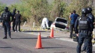 Escena del asesinato de un jefe policial de Sinaloa, México