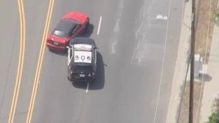 A deputy spins a pursuit car.