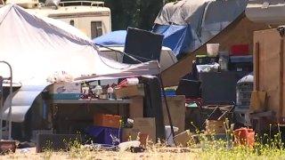 A homeless encampment.