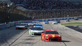 Ross Chastain, driver of the #42 McDonald's Chevrolet, leads the field during the NASCAR All-Star Open at Texas Motor Speedway on June 13, 2021 in Fort Worth, Texas.