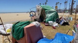 Homeless encampment tents are seen on Venice Beach in this undated photo.