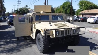 Pomona police arrested a man after a stolen military Humvee chase.