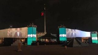 Imagen de la transmisión del mensaje del presidente Biden en México