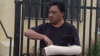 Un hija y su padre confrontaron a un hombre que supuestamente se estaba robando las llantas de su camioneta cuando de repente los empezó a golpear con un bate.