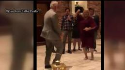 Abuelo se convierte en alma de la fiesta con su baile