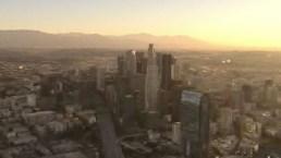 Así luce el amanecer en el centro de Los Ángeles