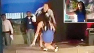 Video: Tacones la traicionan en certamen