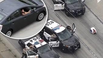 Persecución de sospechoso en la 710 acaba a balazos