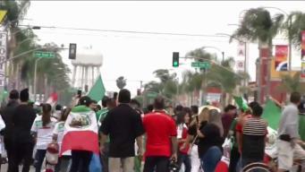 Varios arrestados en festejos de victoria de México