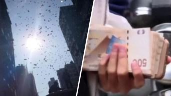 """Video: """"llueve"""" dinero del cielo y la gente enloquece"""