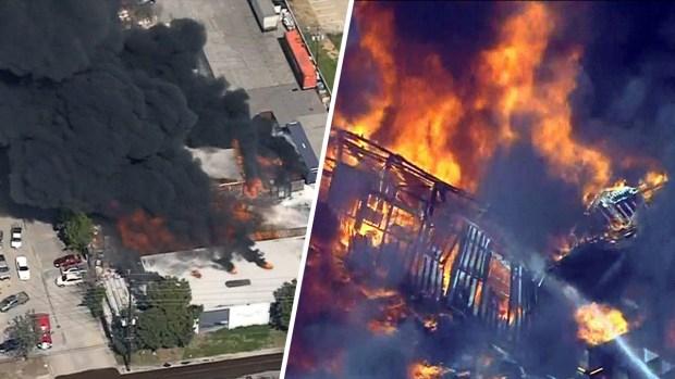 Fotos aéreas del incendio Santa Fe Springs