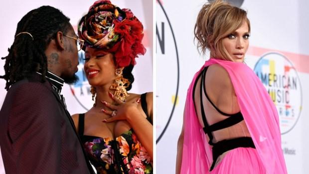 Cardi B romántica y J. Lo sin A-Rod deslumbran en los American Music Awards