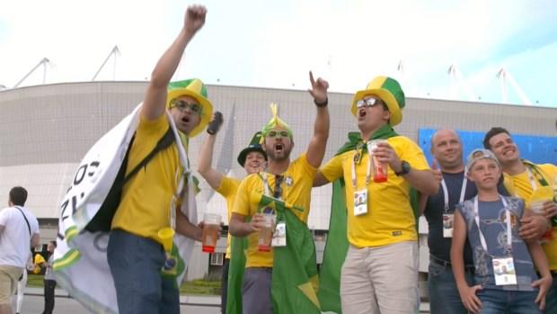 [World Cup 2018 PUBLISEHD] Brasileños y suizos colmaron las afueras del estadio