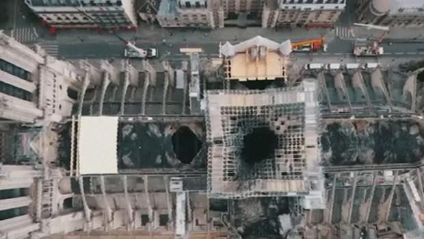 Desde el aire: así quedó la catedral Notre Dame